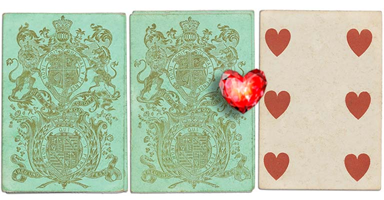 Six of hearts English Cartomancy meaning