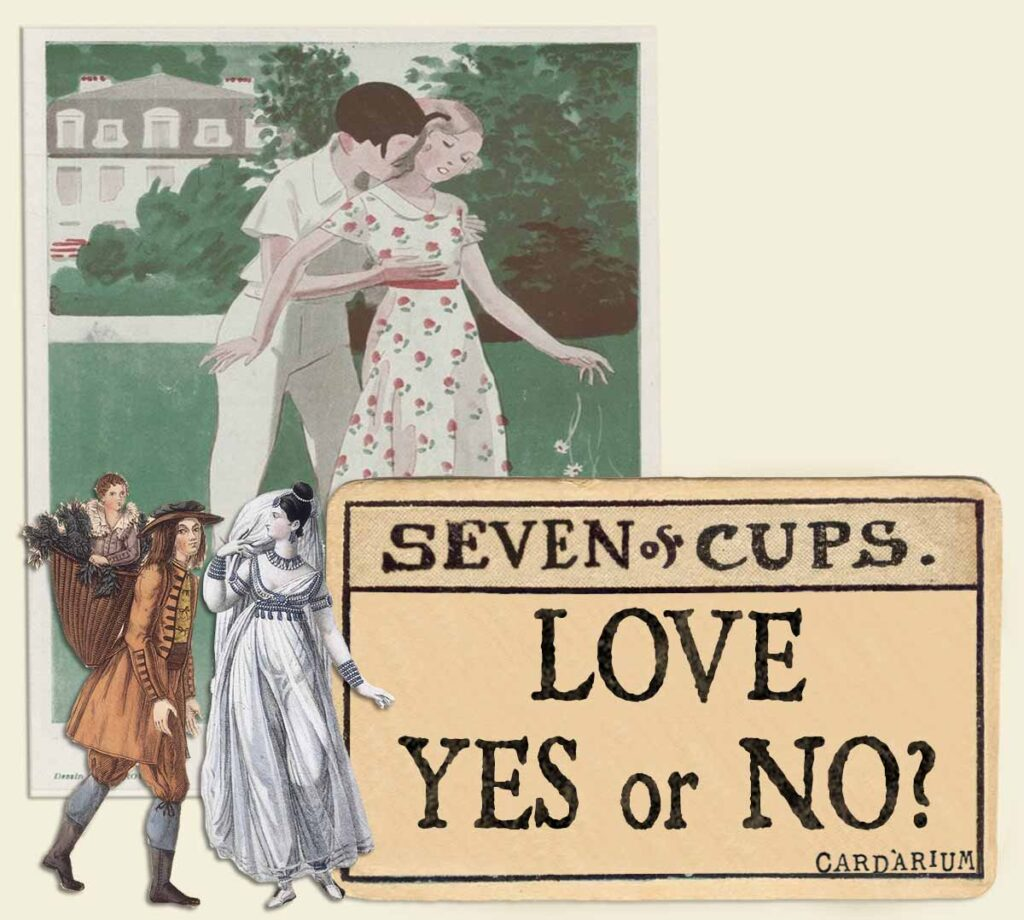 7 of cups tarot card meaning for love yes or no