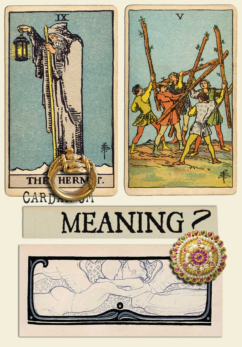 The Hermit and Five Of Wands