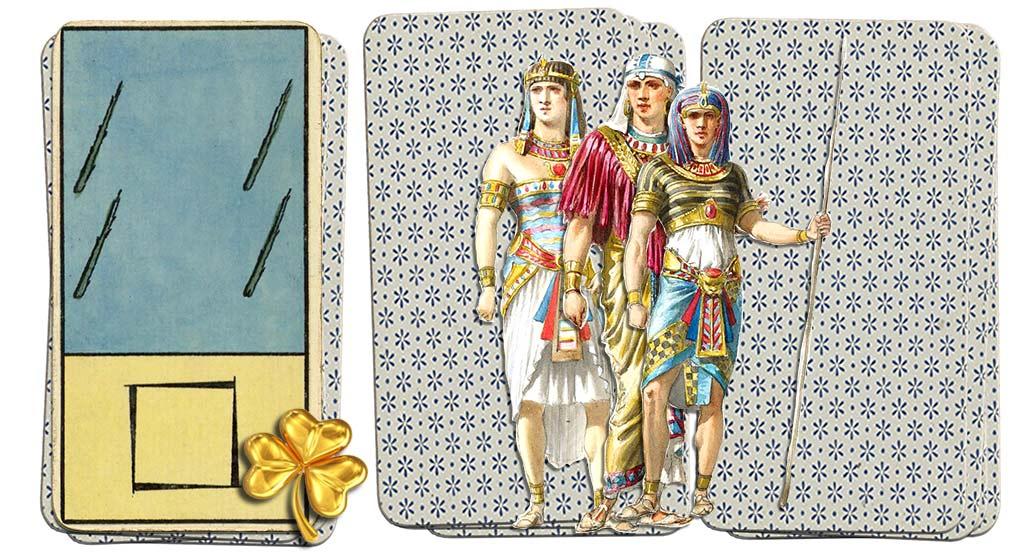 Egyptian Grand Etteilla Tarot 4 of wands