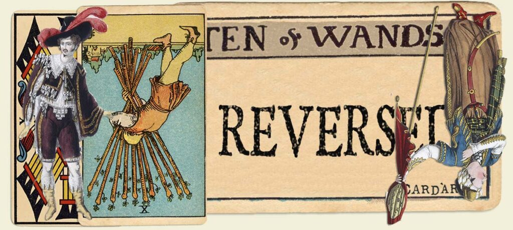 Reversed 10 of wands main section